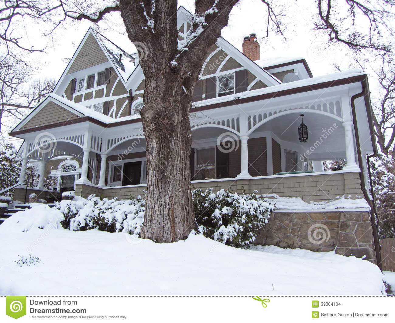 Victorian Home In Winter Stock Photo Image Of Winter