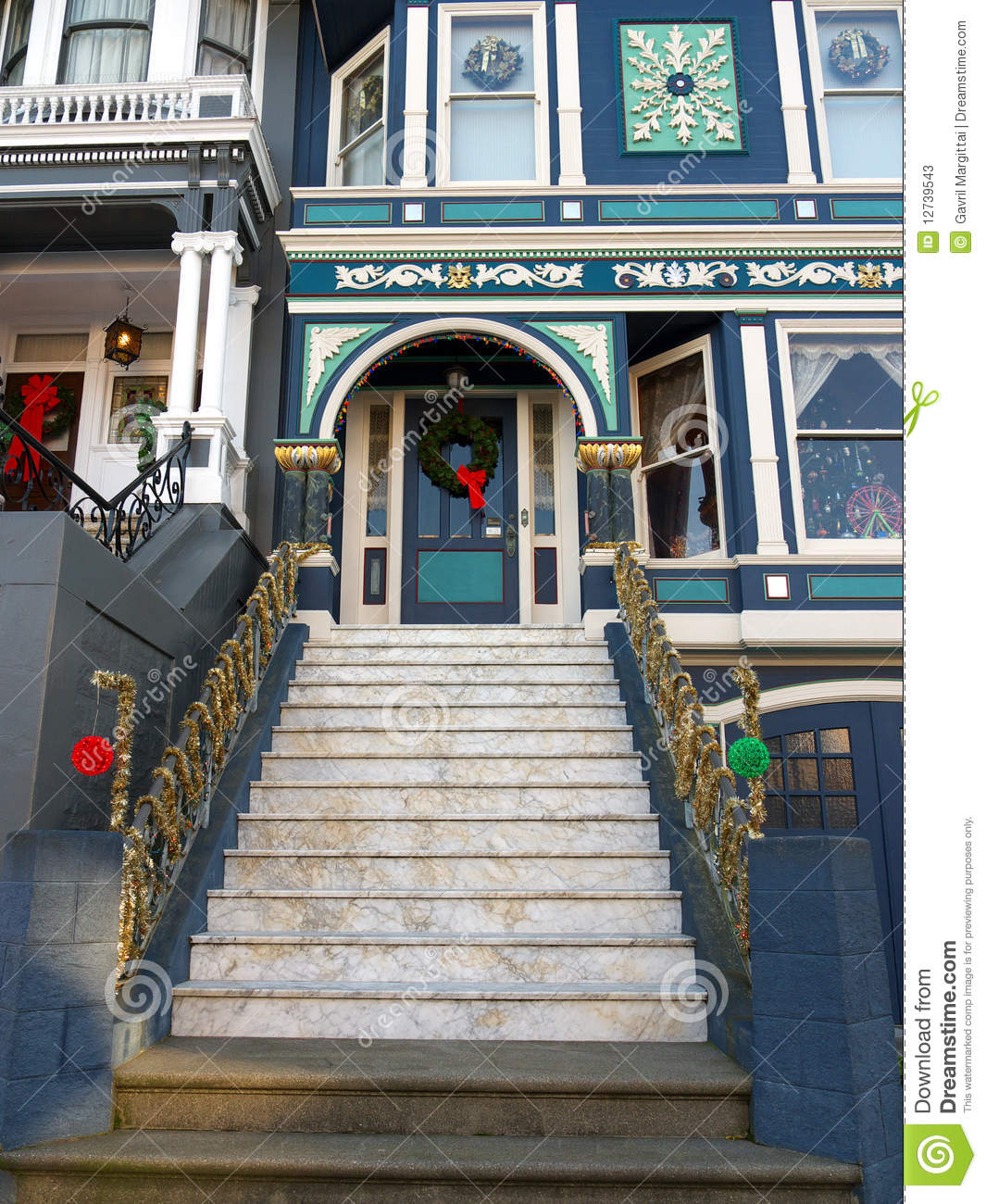 Christmas Decorations For Victorian Homes: Victorian House Entrance With Christmas Decoration Stock