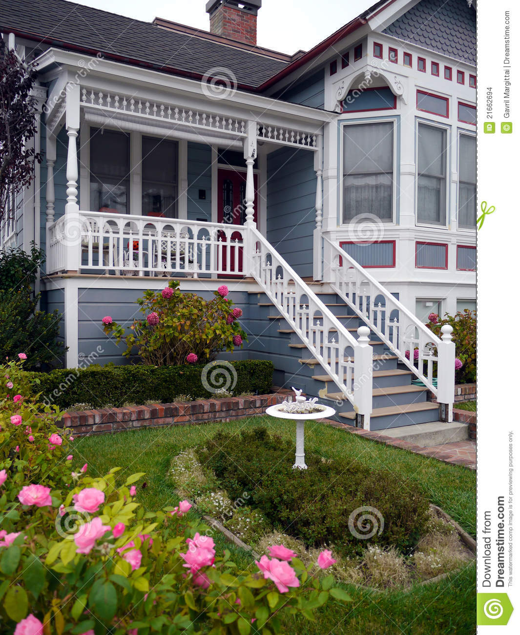 Victorian House Entrance And Garden Stock Photo Image