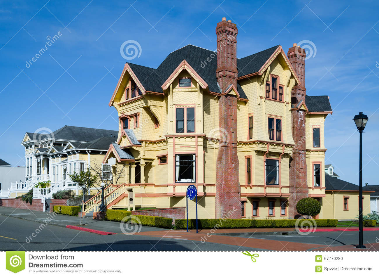 Victorian House In The Eureka Downtown In California Stock