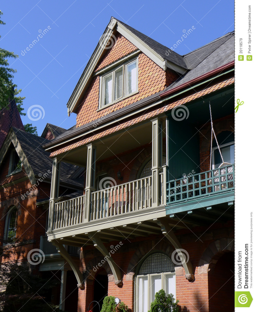 Victorian house with large balcony royalty free stock - Houses three balconies ...