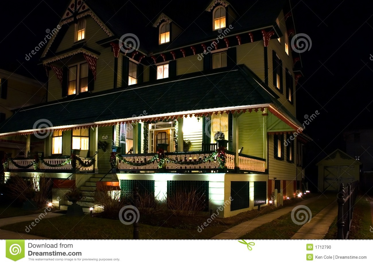 Victorian House At Night Stock Photo Image Of Holidays