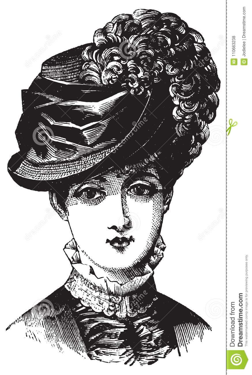 f765625d2 Victorian historical antique illustration of woman in hat in black and  white with vector