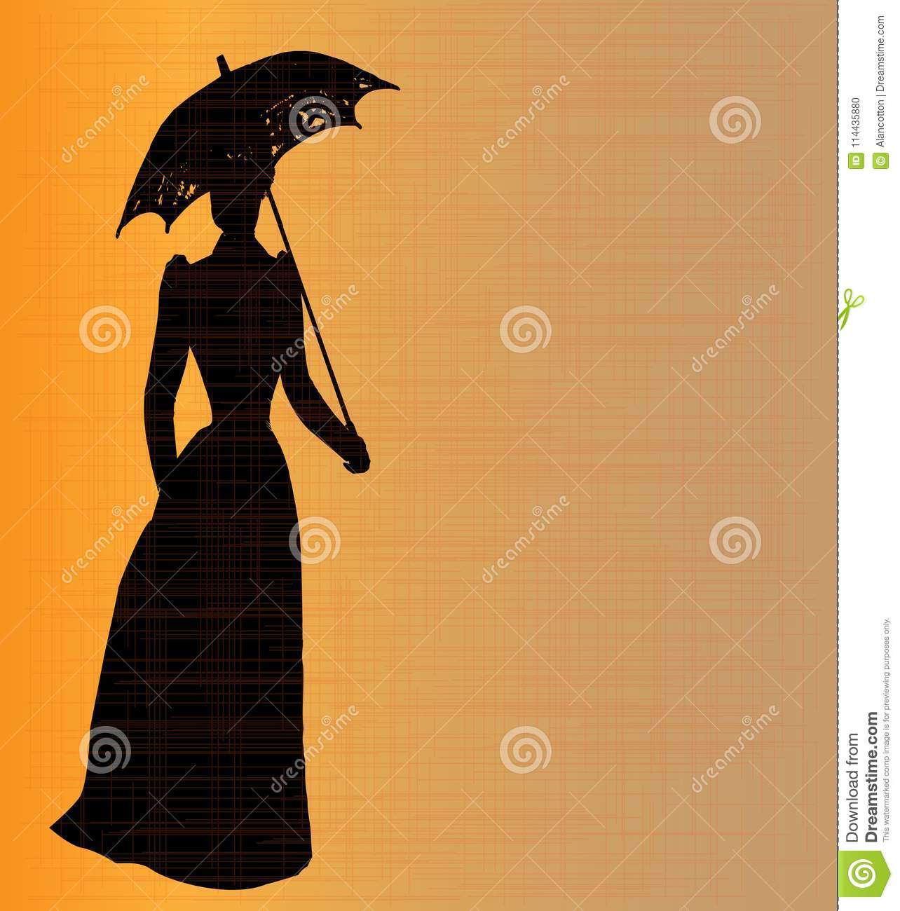 094c2f6d5cd Silhouette of a typical lady of the Victorian era with a grunge background.  More similar stock illustrations