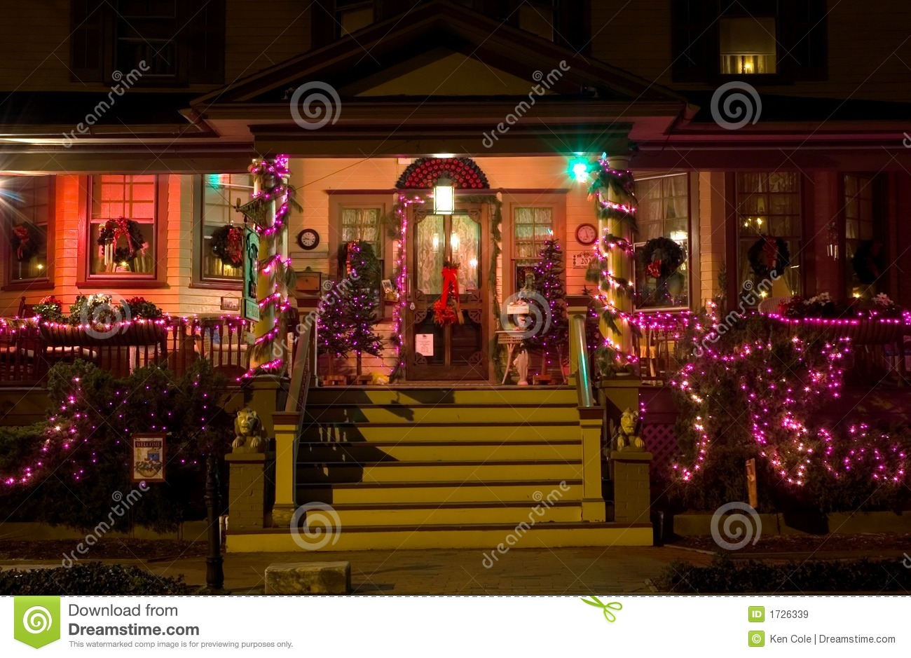 Victorian Porch At Christmas Royalty Free Stock Images