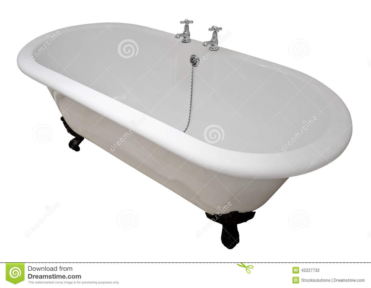 Luxury white flat rim roll top clawfoot bathtub isolated against a ...