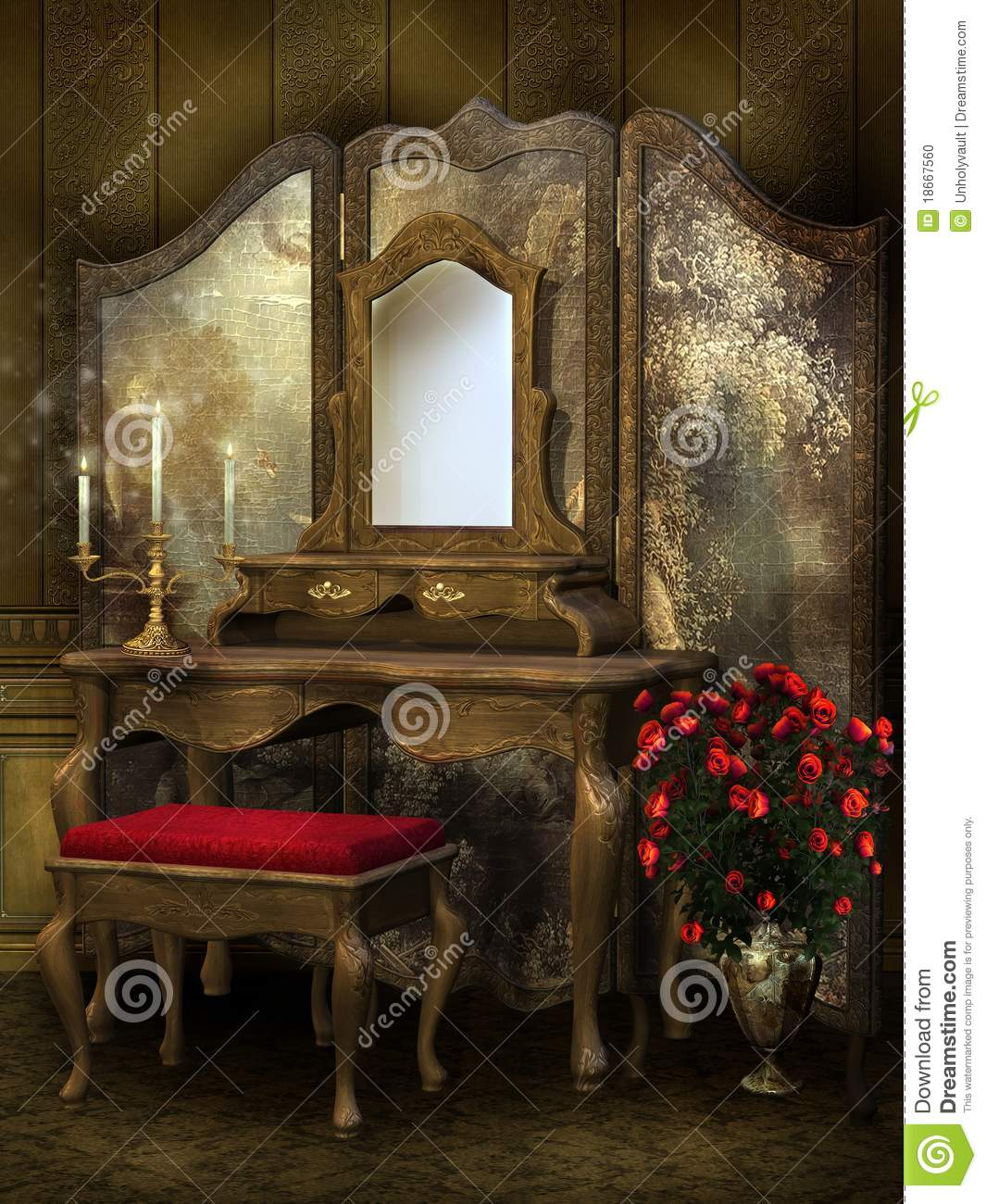 Old Victorian Room: Victorian Room With Roses Stock Illustration. Illustration