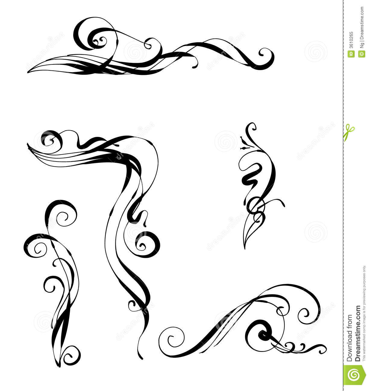 Antique Scroll Line: Victorian Scrolls Royalty Free Stock Photo