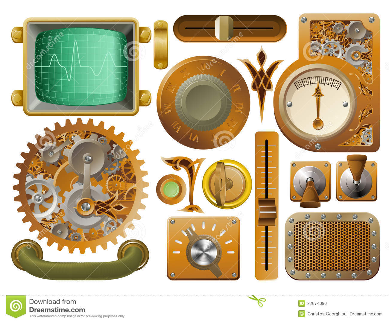 Victorian steampunk design elements stock photo image for What is steampunk design
