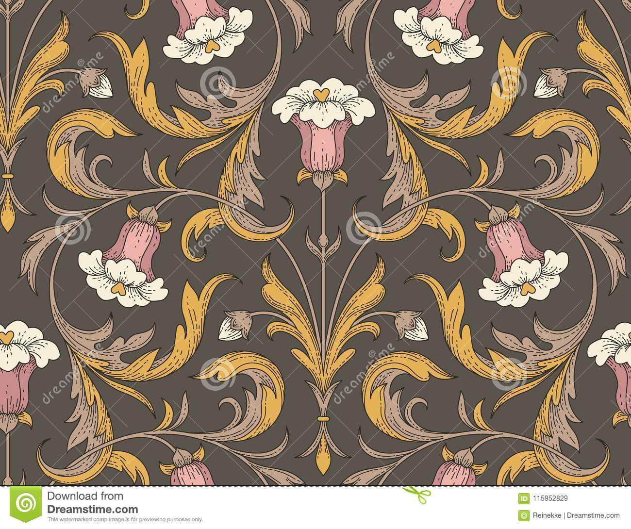 Victorian Style Pattern Stock Vector Illustration Of Floral