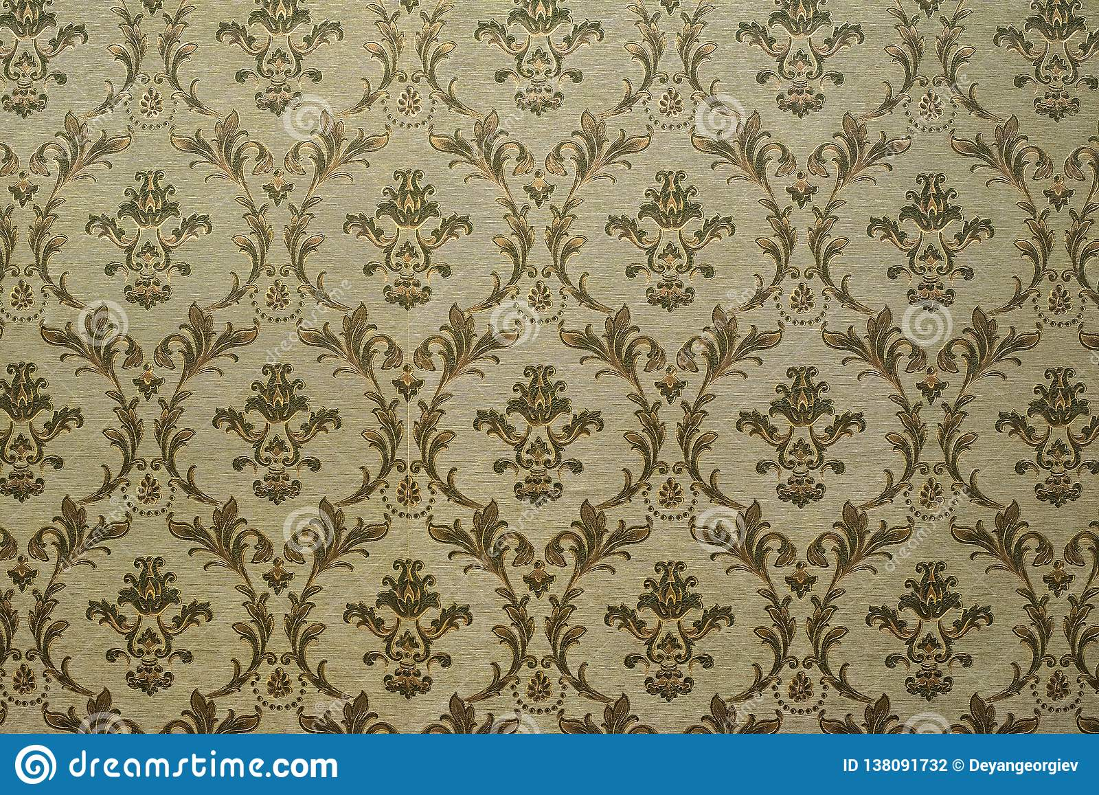 Victorian style vintage pattern on wall. Ornamental background wallpaper