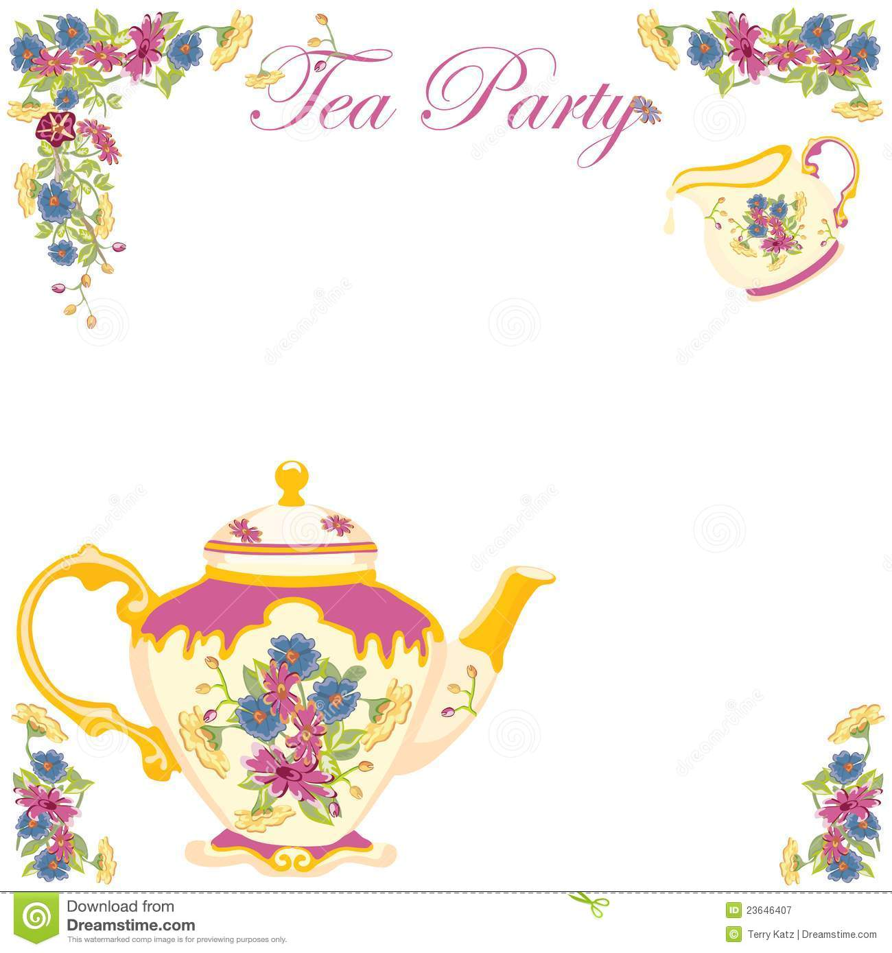 Victorian Tea Pot Tea Party Invitation Stock Vector - Illustration ...