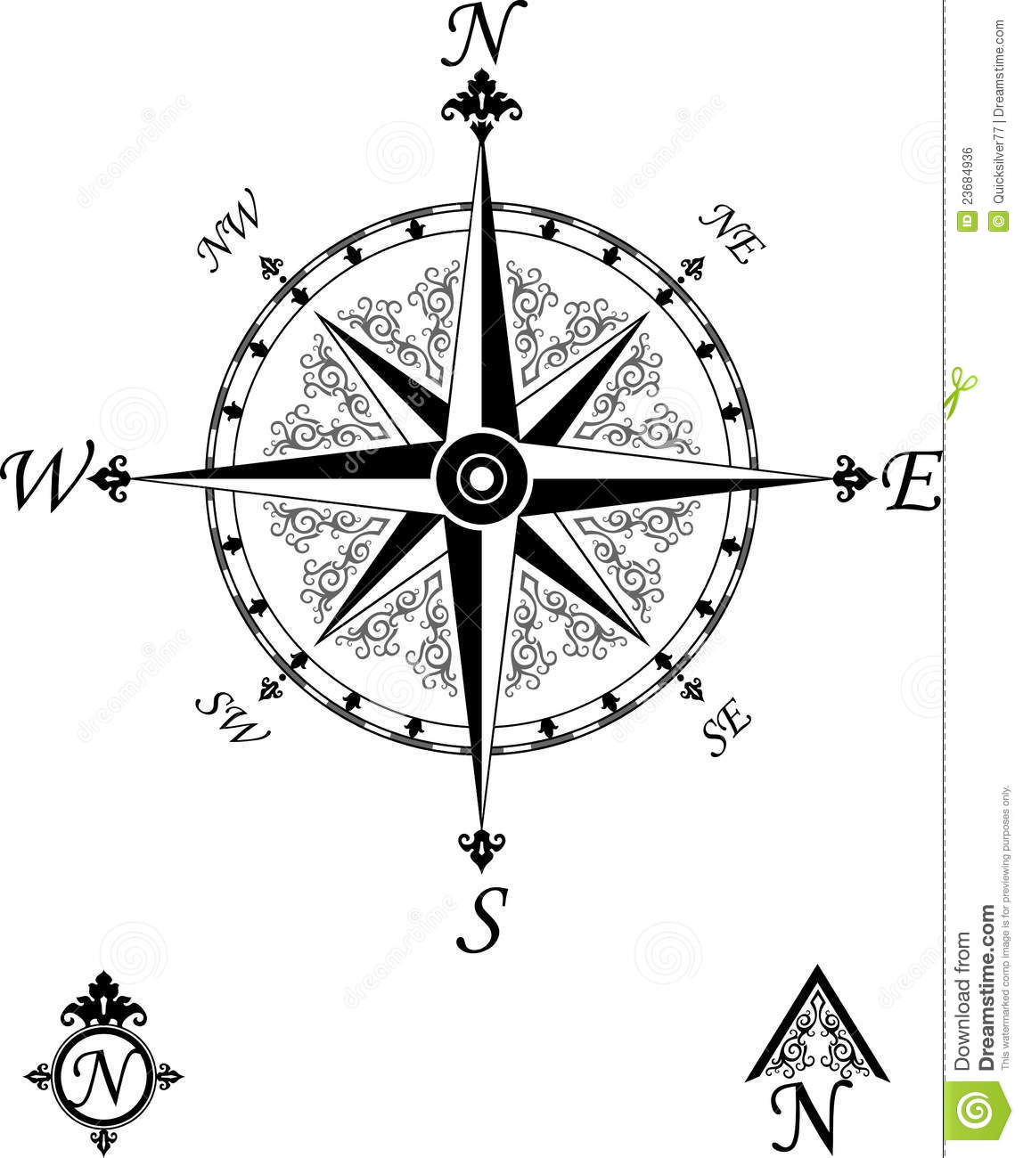 Victorian Vintage Compass Royalty Free Stock Image - Image: 23684936