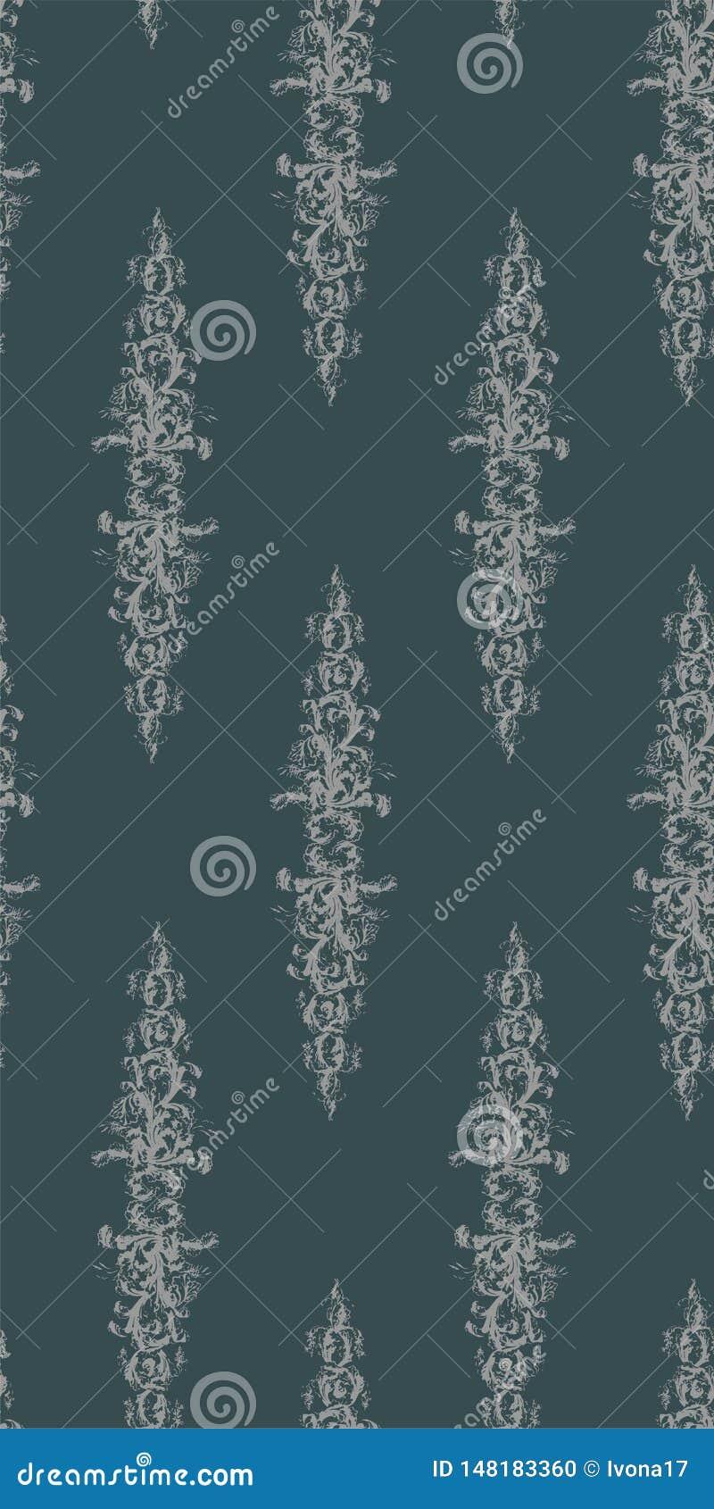 Victorian wallpapper Muster des sch?bigen Vektors des Zusammenfassungsdamastes nahtlosen