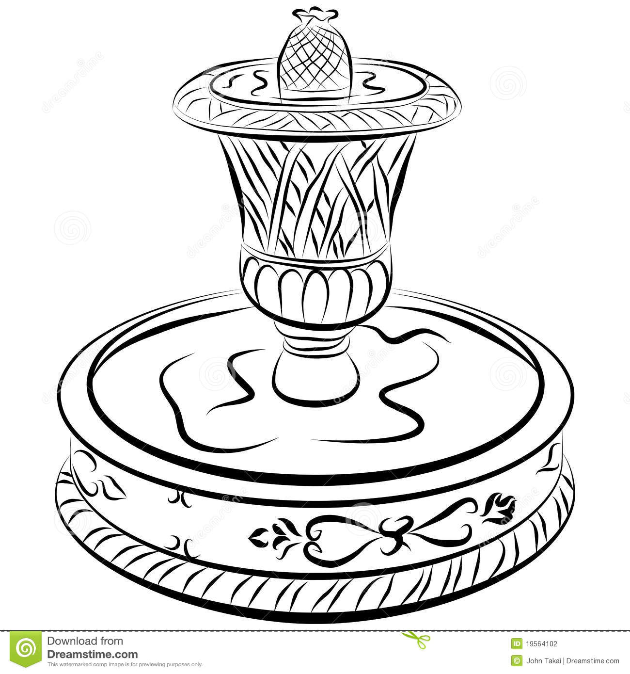 fountain coloring pages - fountain drawing coloring coloring pages