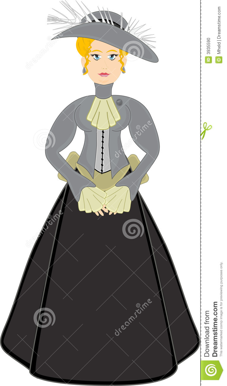 Victorian Woman In Gray With Hat Stock Photo Image 3935590
