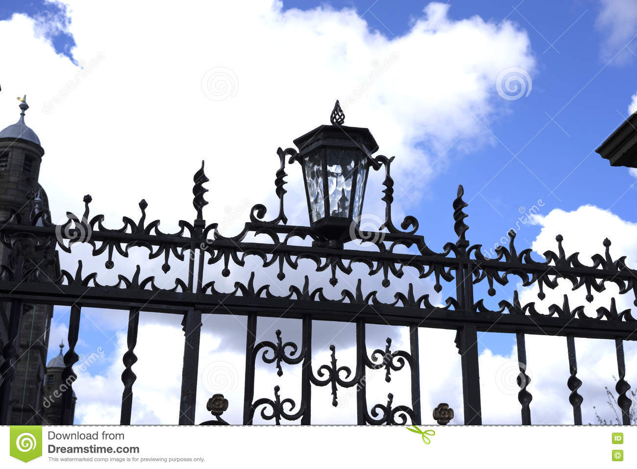 wrought iron fence victorian. Victorian Wrought Iron Lamp And Gate Fence
