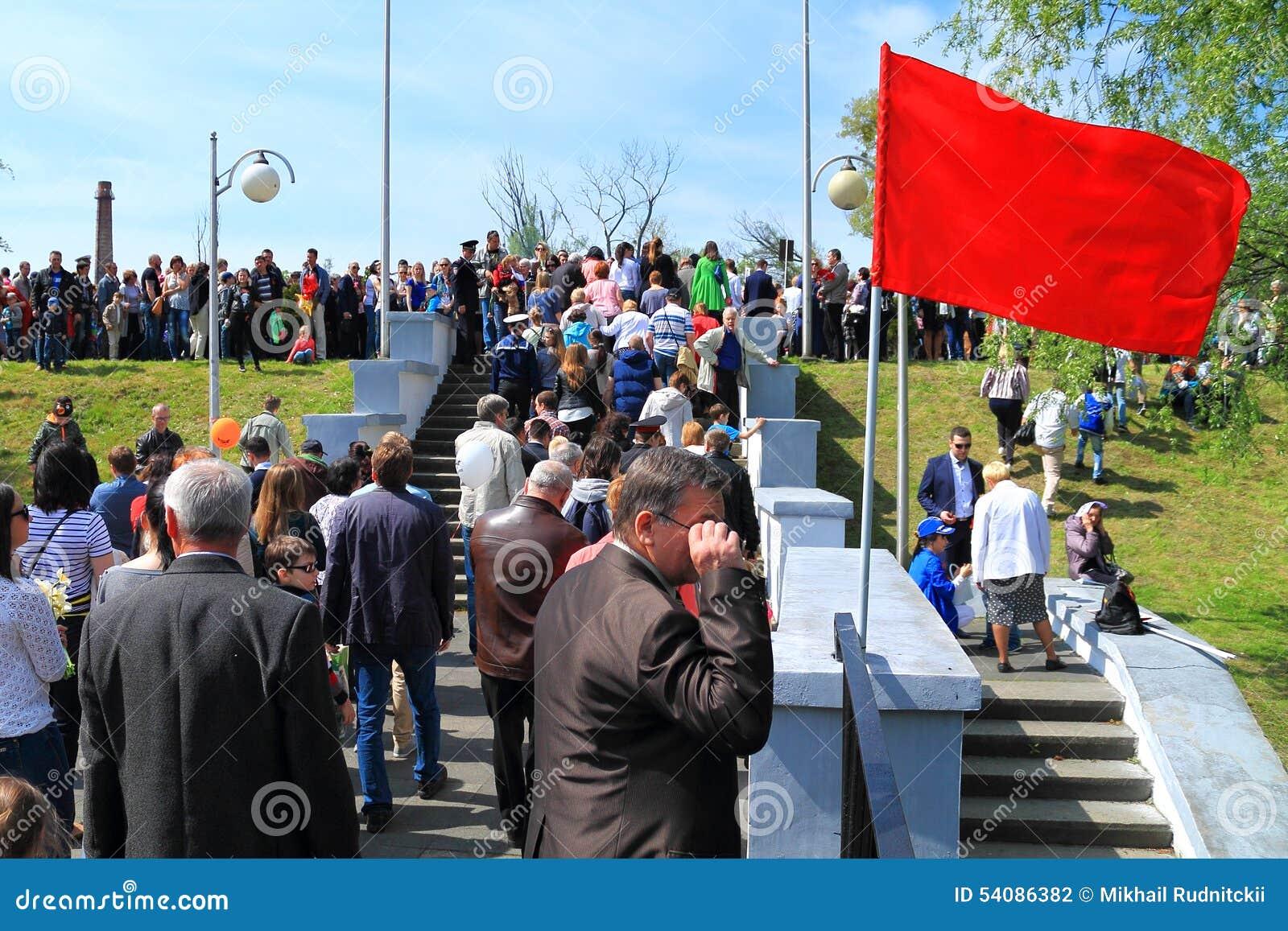 Victory Day - de mensen gaan naar Overwinningspark
