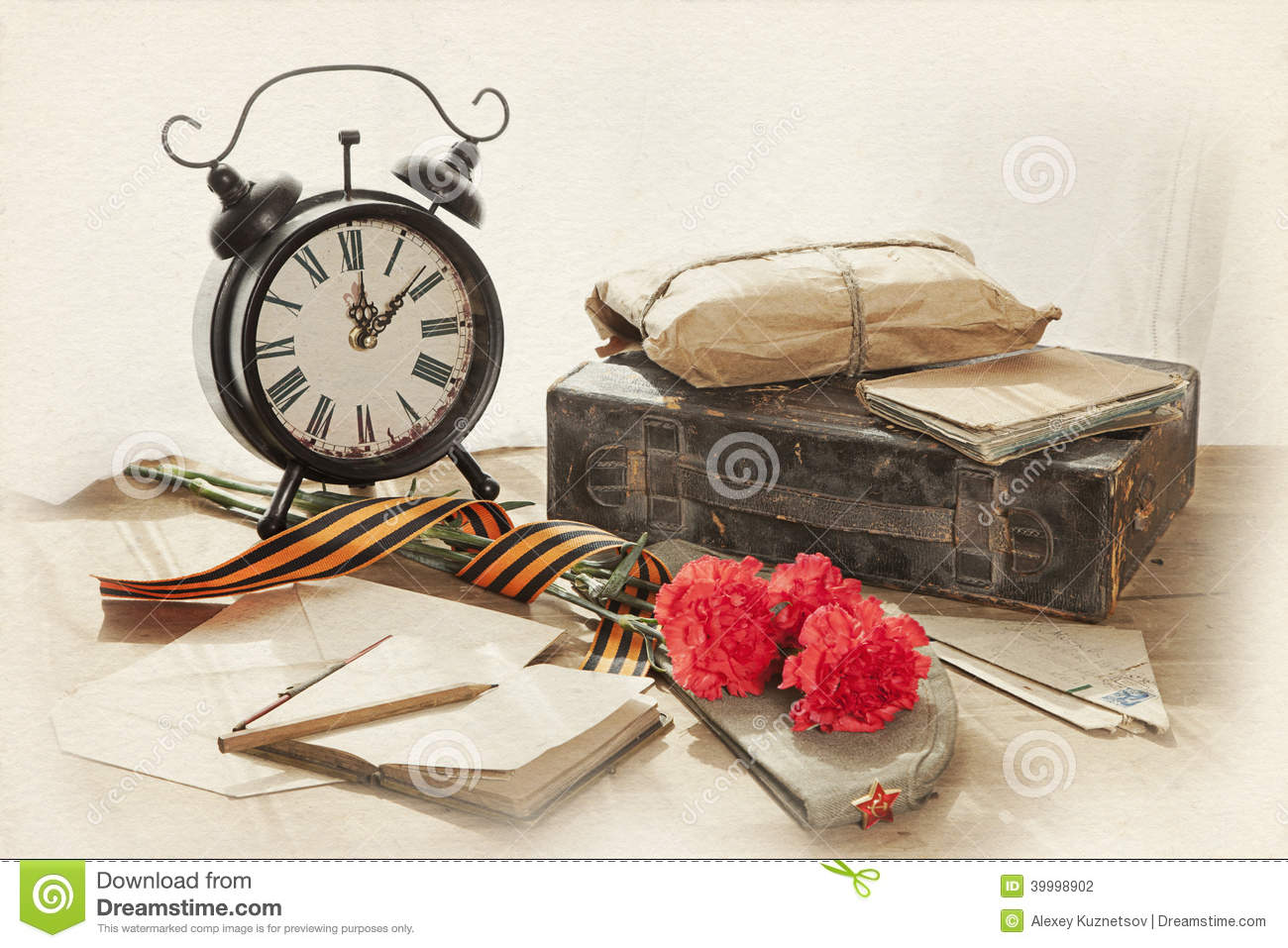 victory day still life stock photo image of ribbon clock 39998902. Black Bedroom Furniture Sets. Home Design Ideas