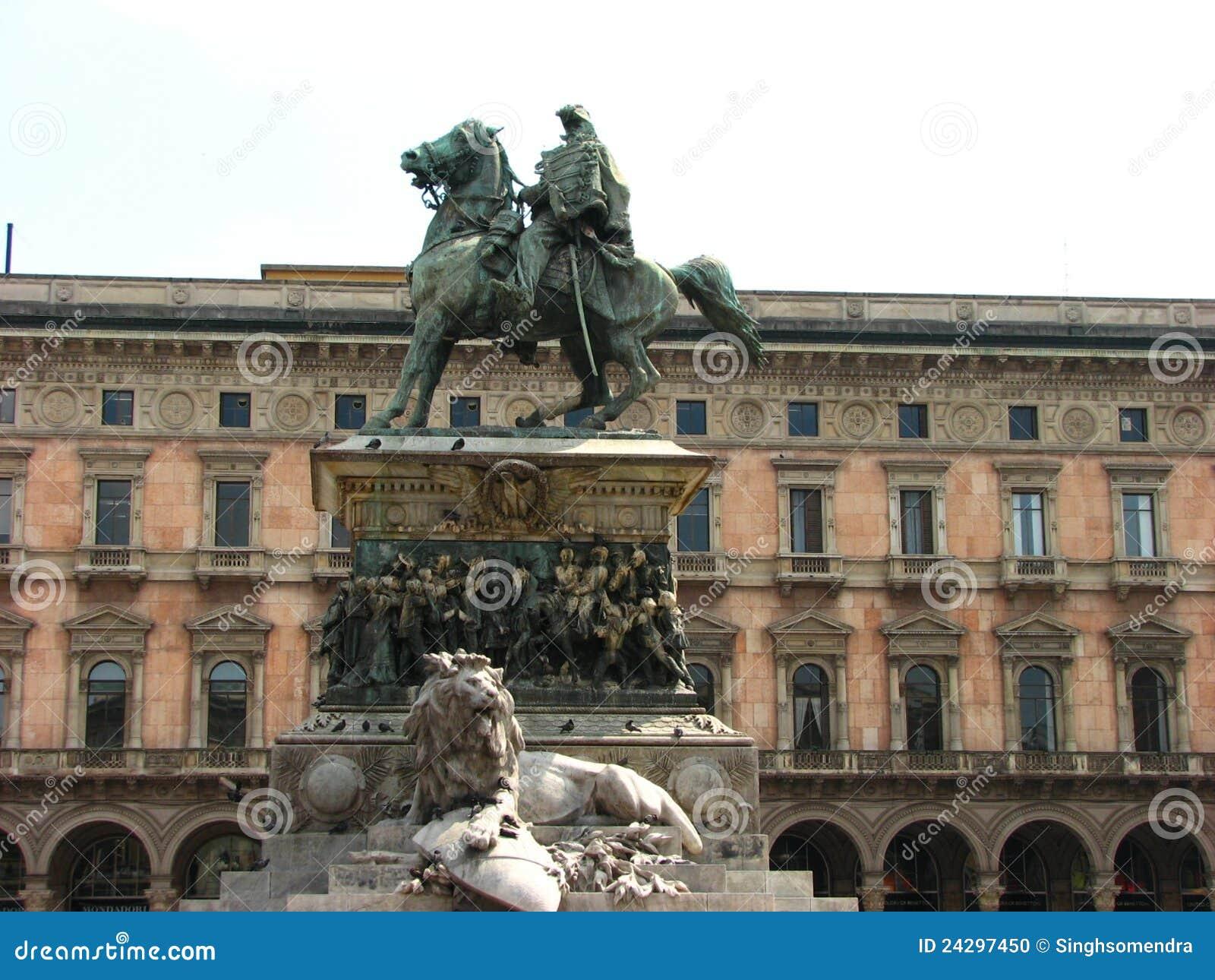 Victory Statue At Piazza Del Duomo Milan Italy Stock