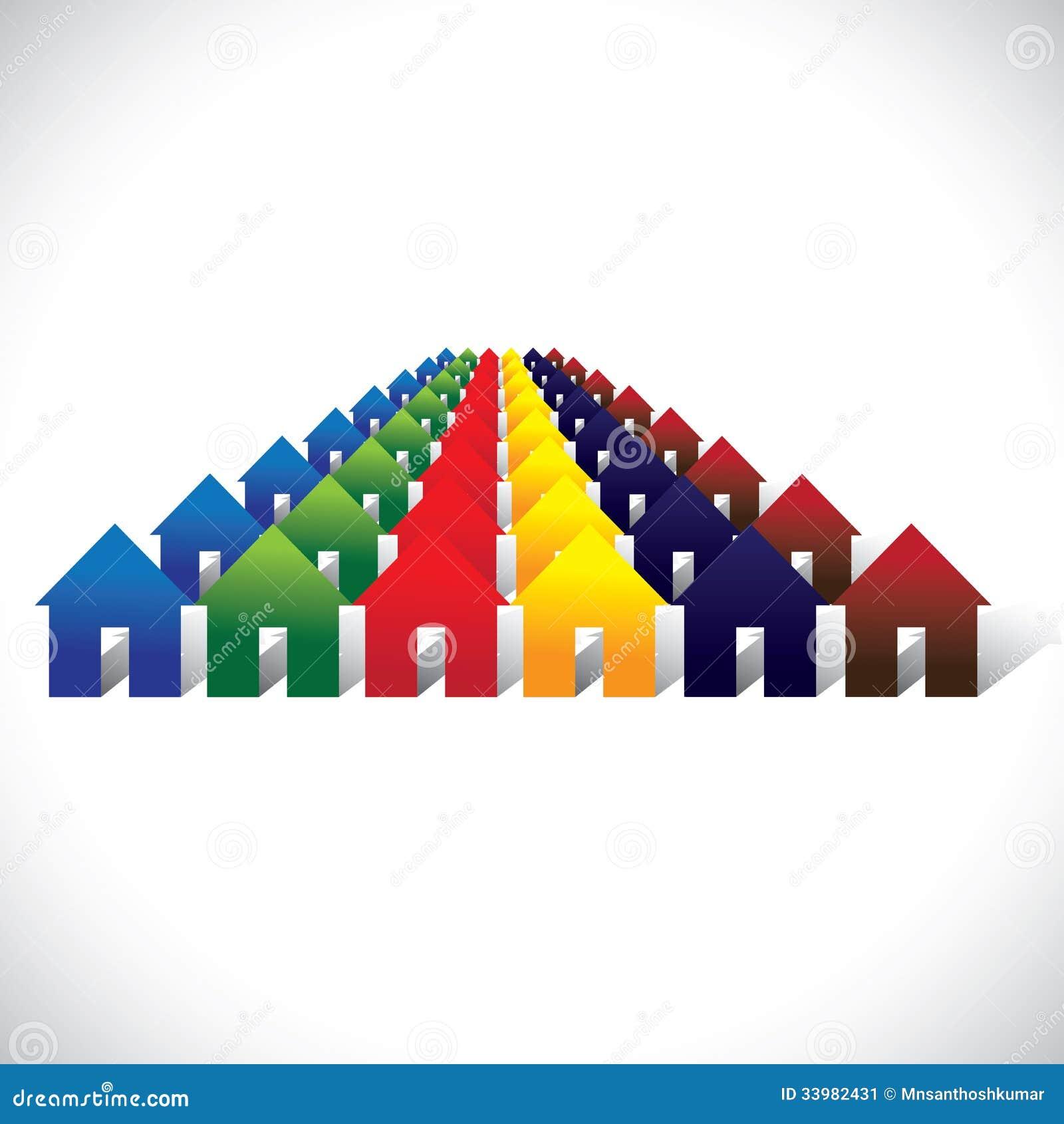 Vida da comunidade do vetor do conceito - casas ou casas coloridas