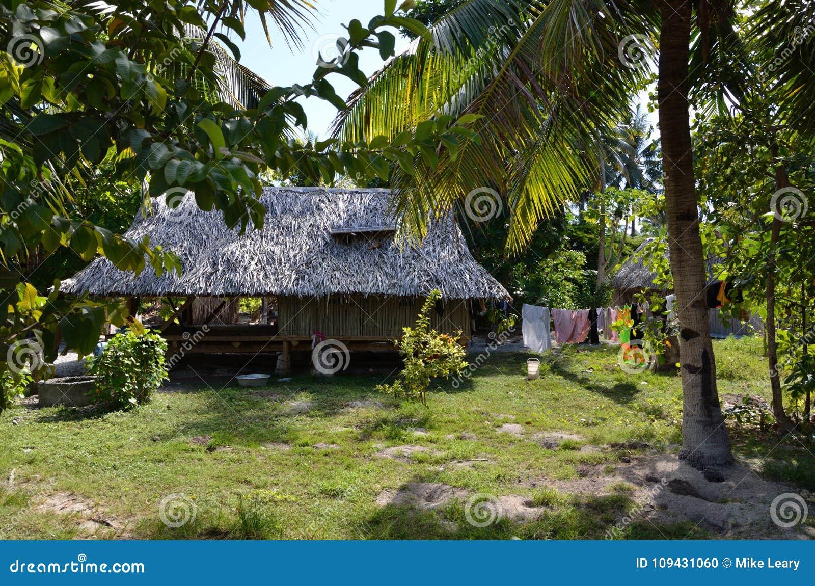 Vida da vila em uma ilha de South Pacific