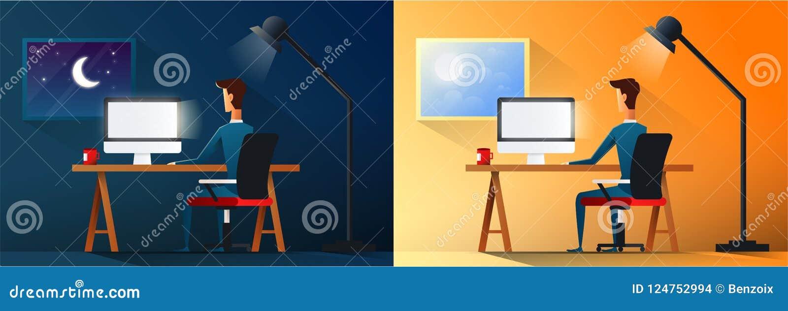 Vida de cada día del hombre de negocios o del diseñador cansado en el trabajo Oficinista agotado en su día laborable y noche del