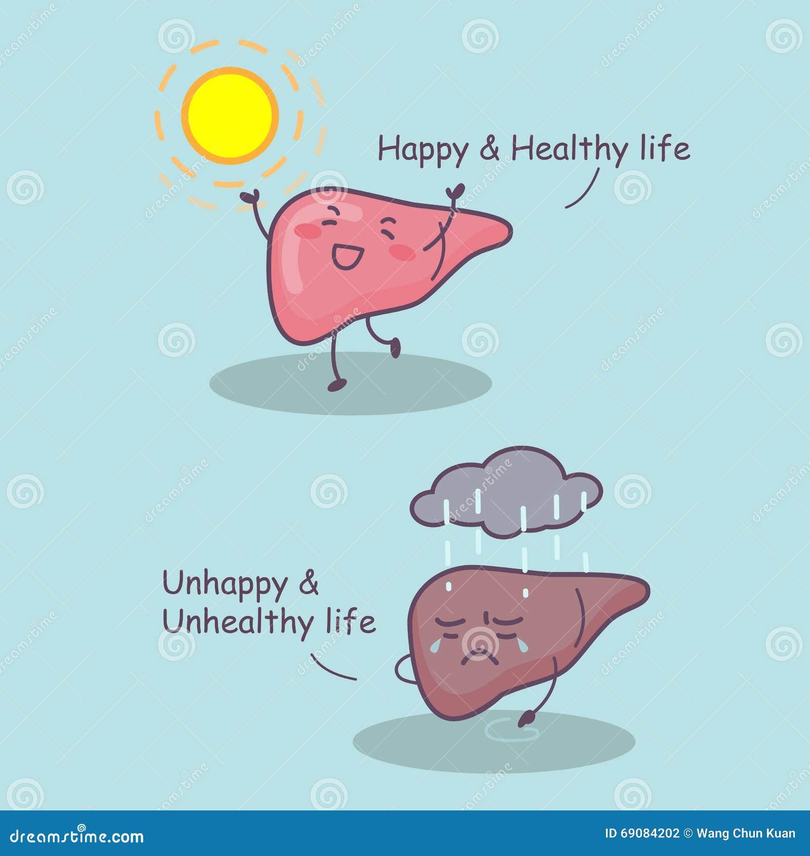 Vida feliz e saudável do fígado