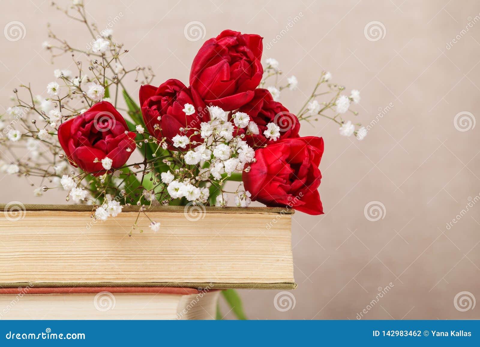 Vida inmóvil del vintage con los tulipanes rojos de una primavera y libros en un fondo beige El día de madre, concepto del día de