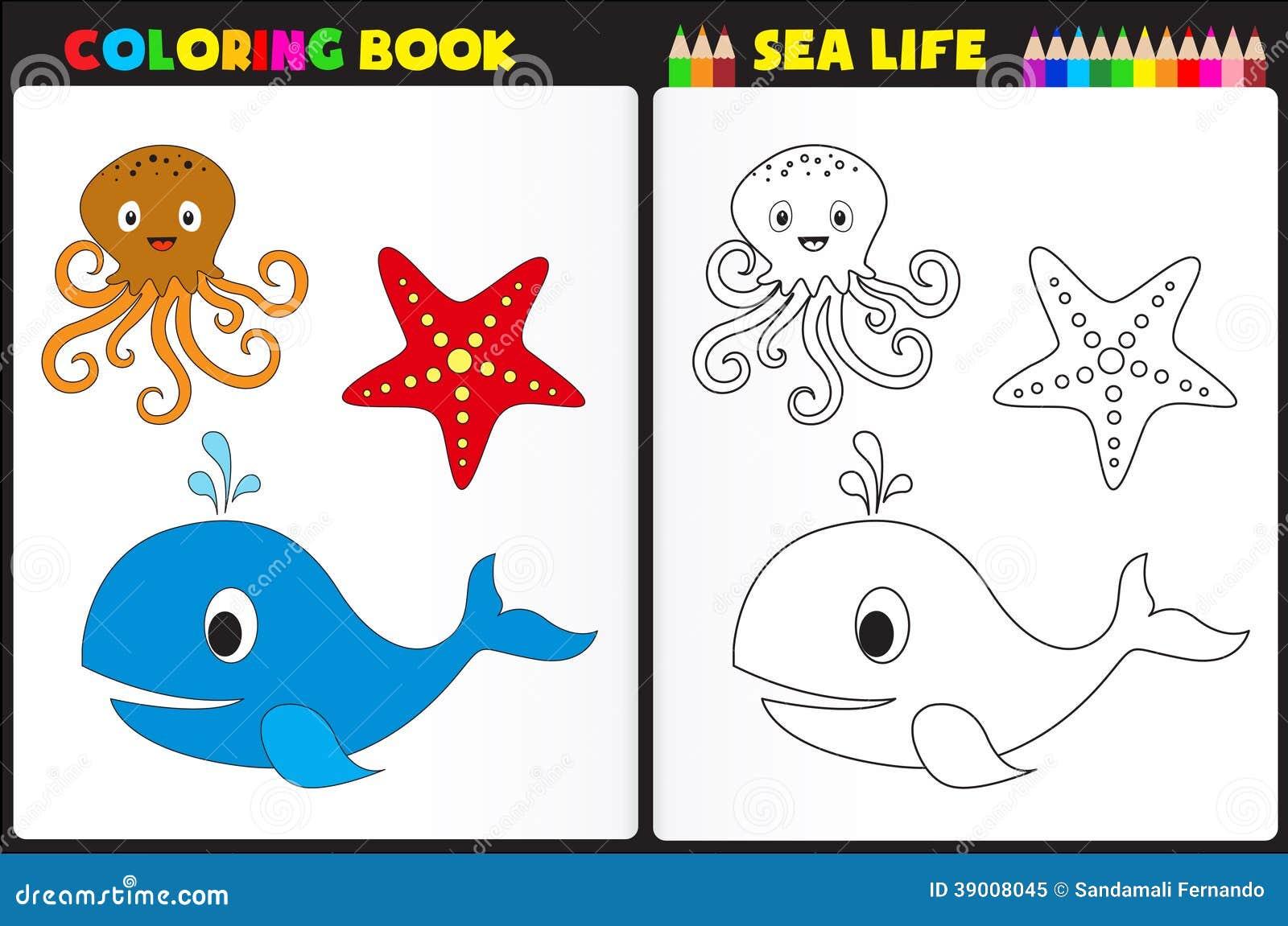 Vida Marina Del Libro De Colorear Ilustración del Vector ...