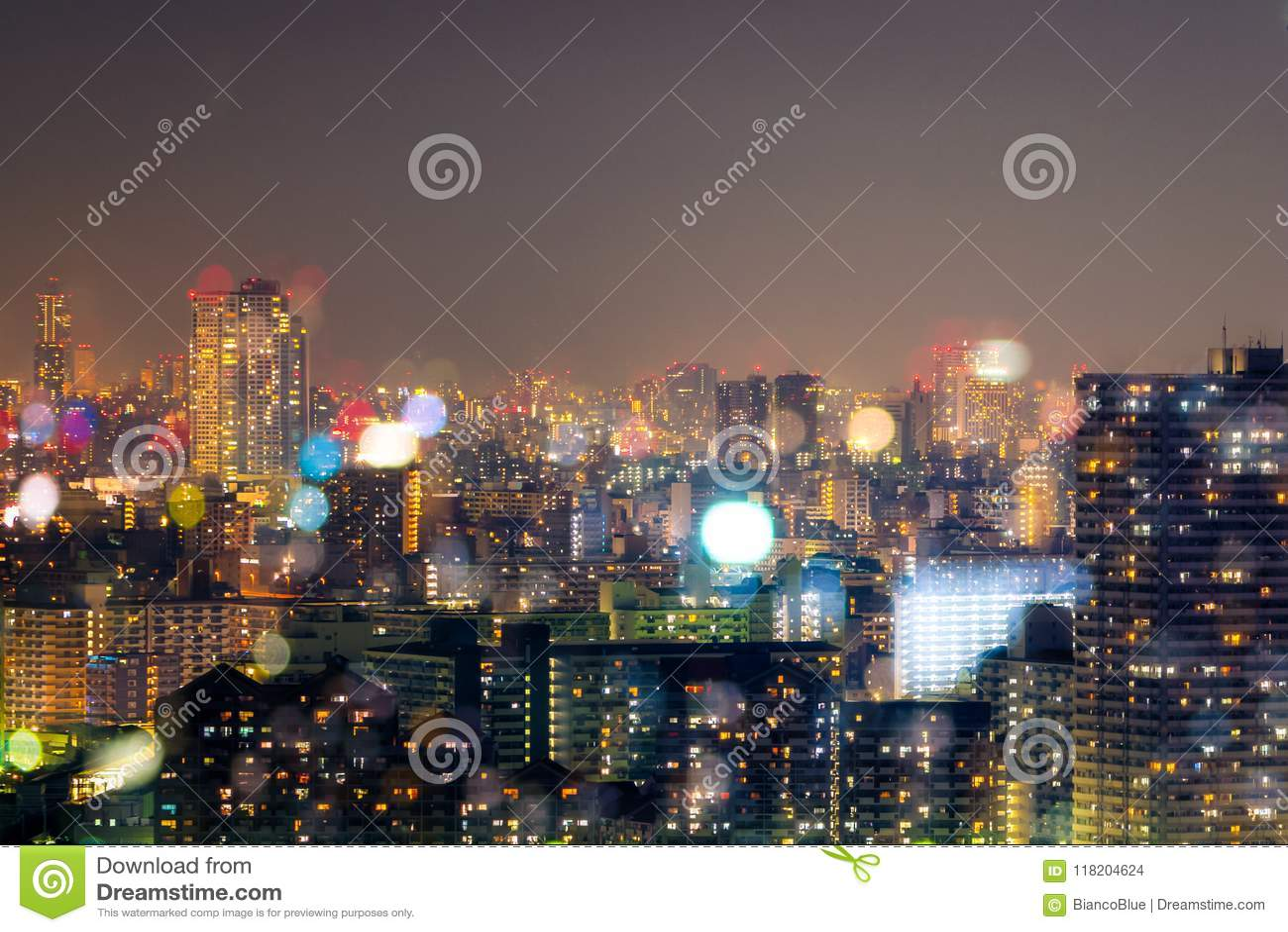 Vida Nocturna De La Ciudad Fondo Del Bokeh De La Falta De