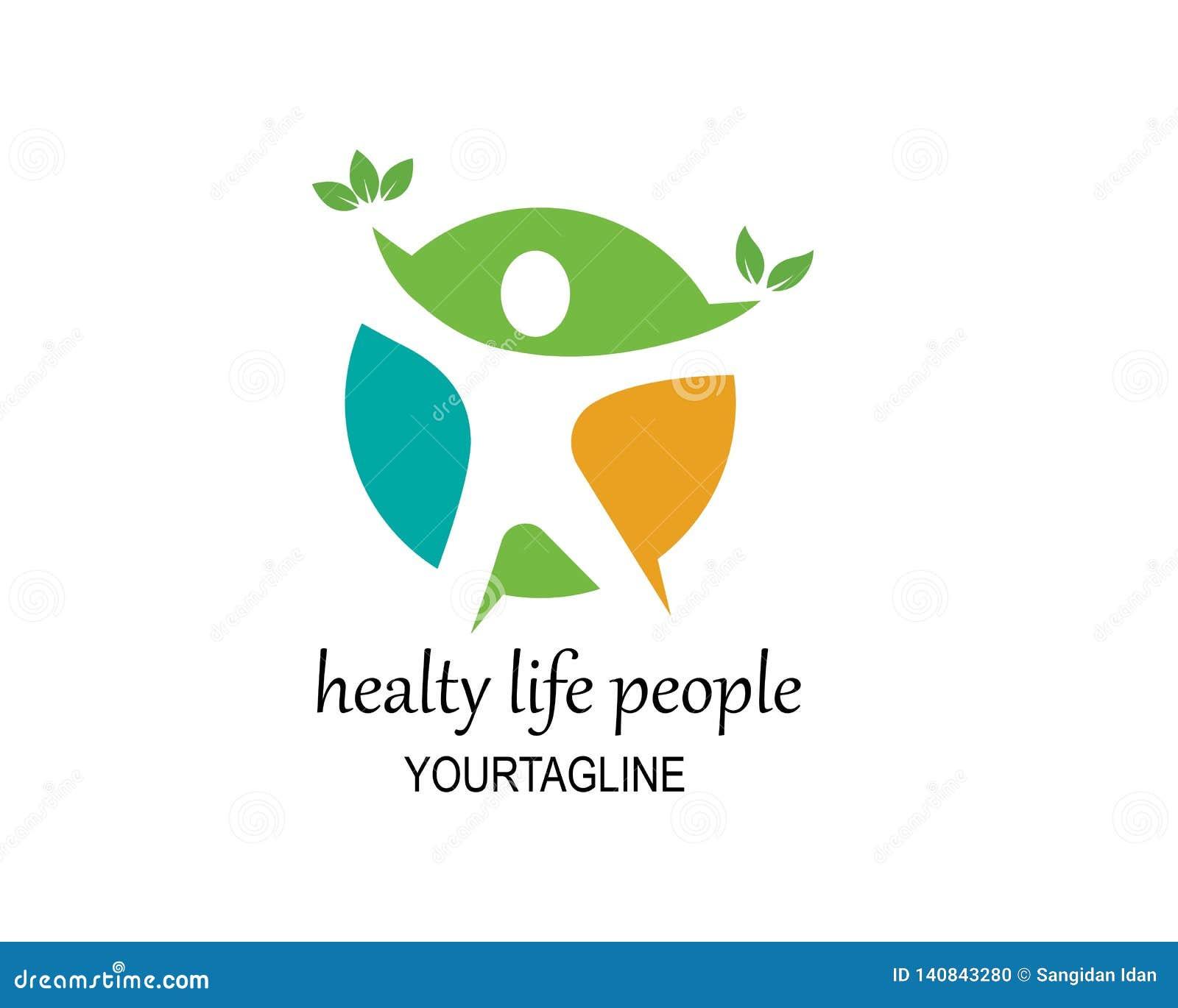 Vida saudável, vetor médico do molde do logotipo