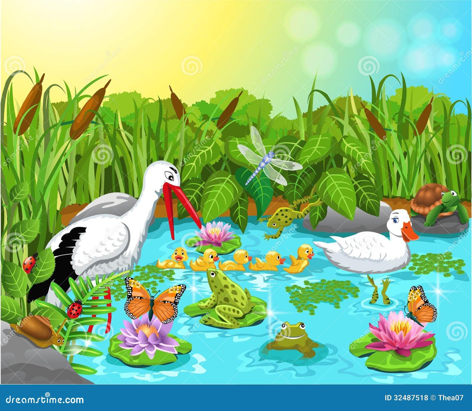 Vida selvagem na lagoa