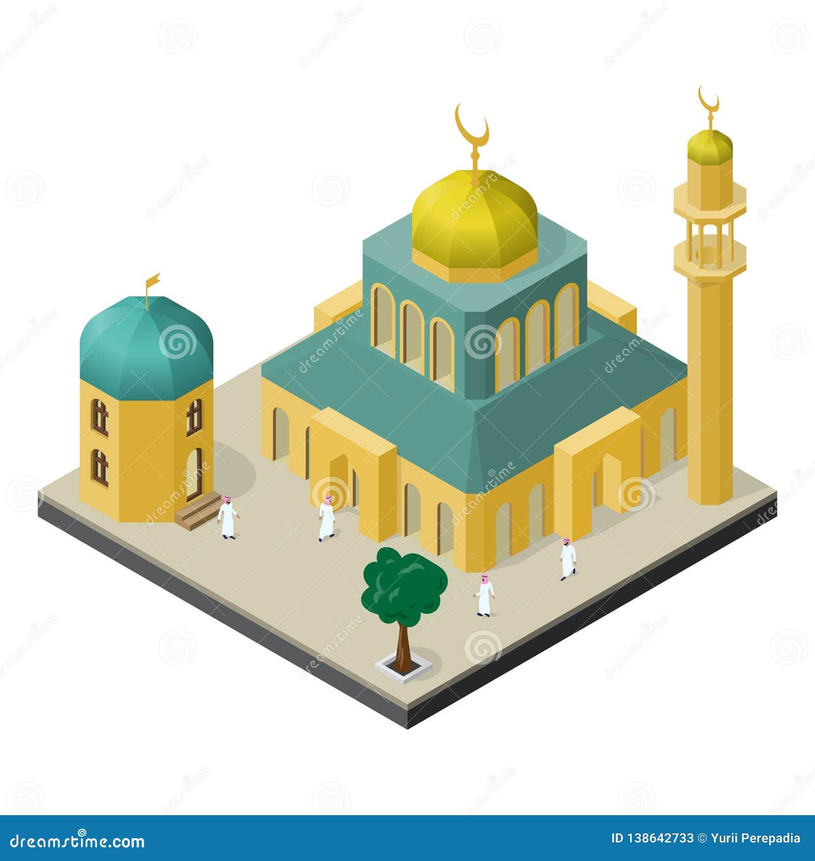 Vida urbana oriental na vista isométrica Mesquita com minarete, muçulmanos, construção árabe e árvore