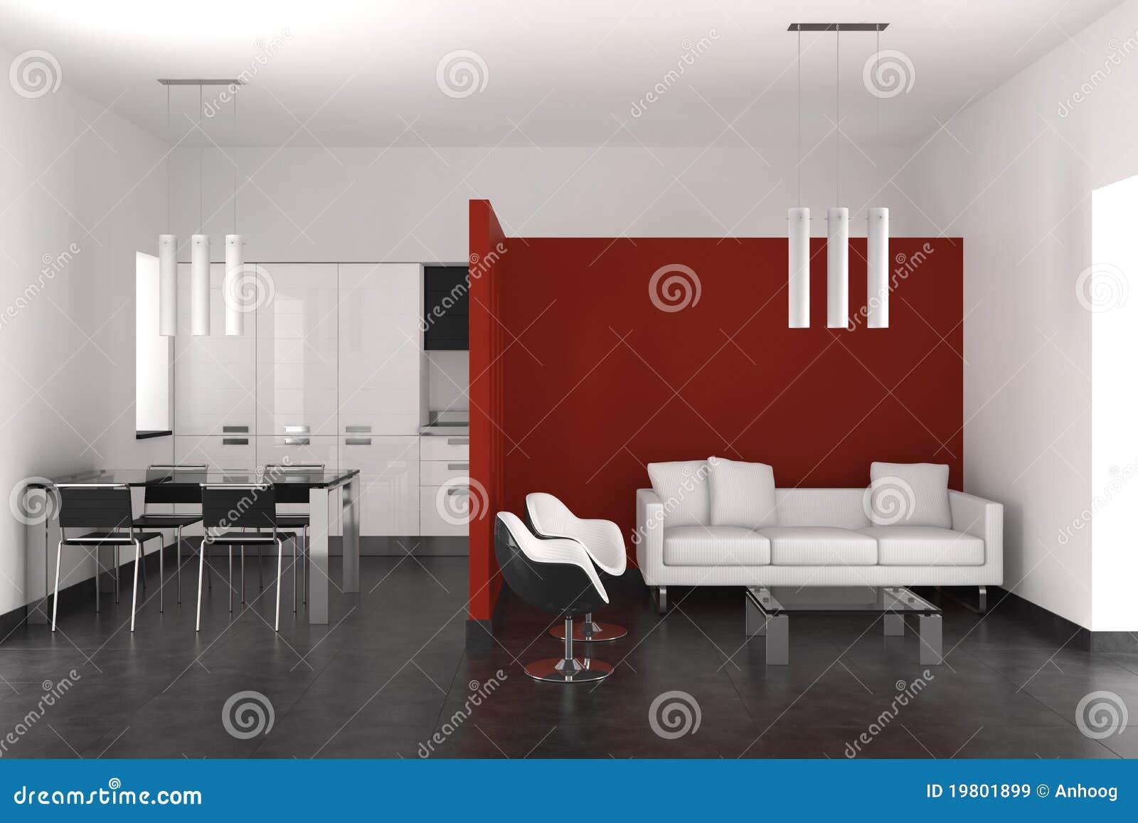 Vida y comedor modernos con la cocina stock de ilustraci n for Cocina comedor modernos fotos