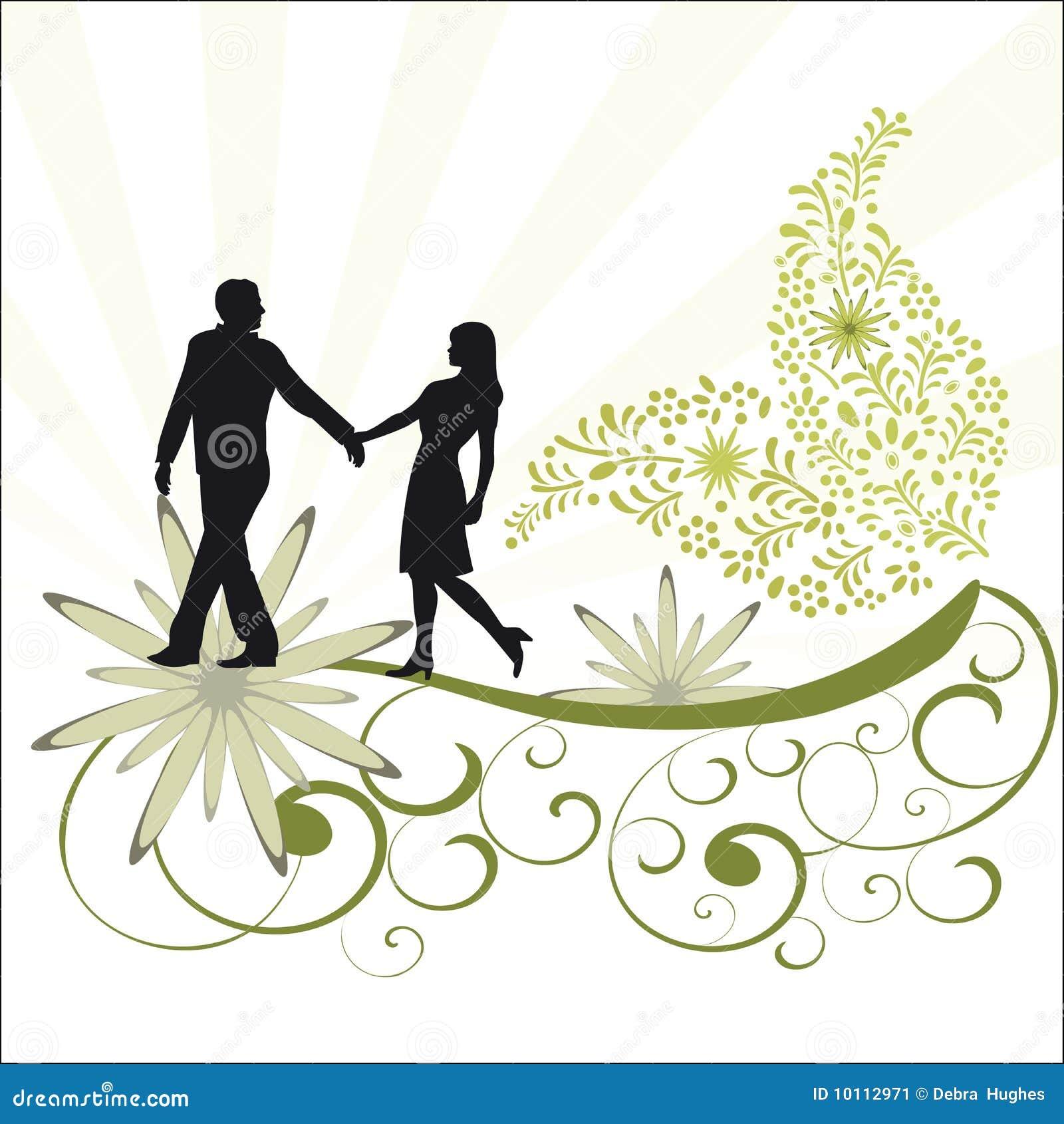 Videira da folha e pares românticos