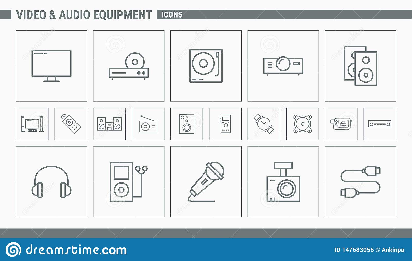 Video and Audio Equipment Icons - Set Web and Mobile 01