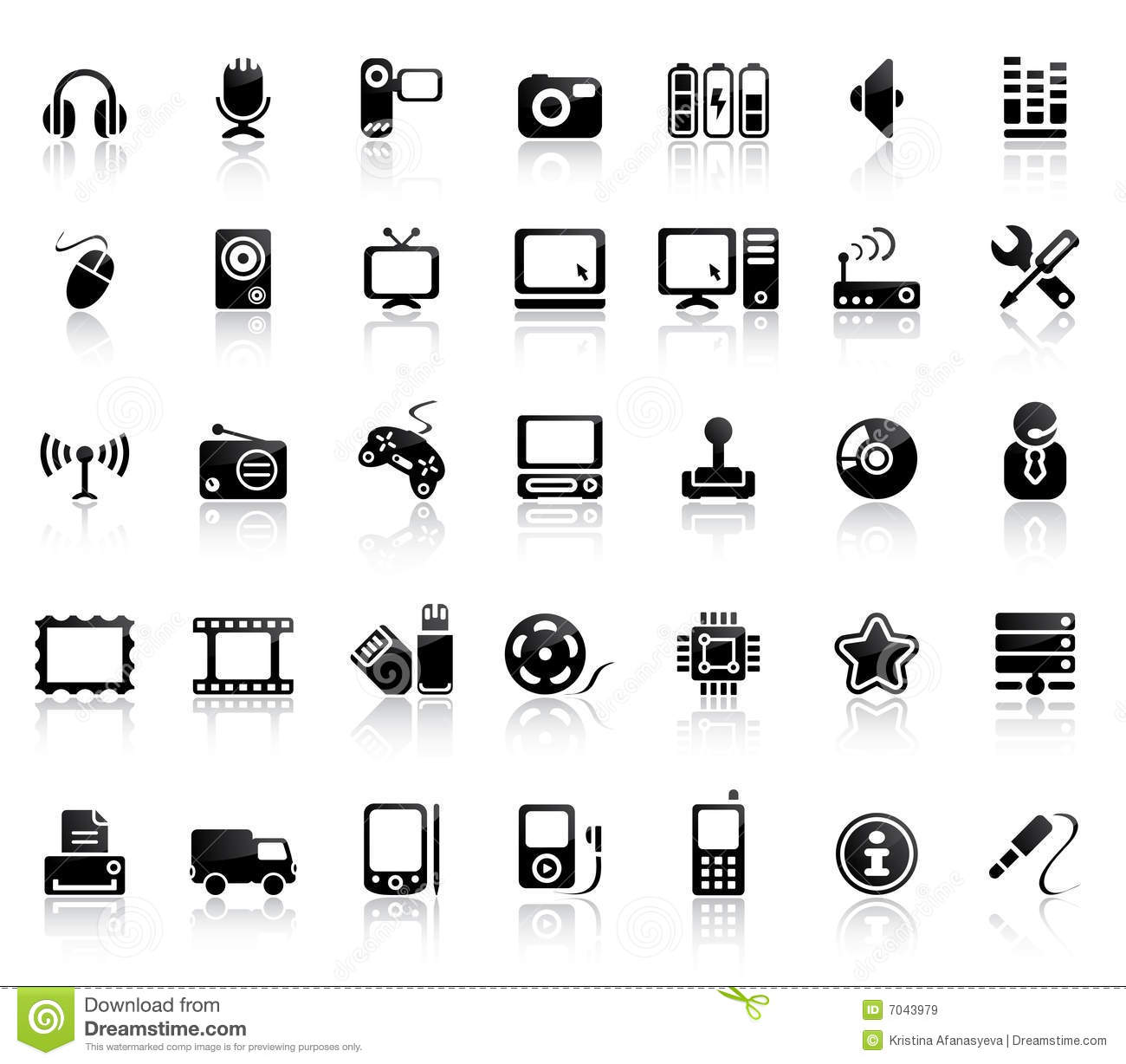 video and audio icon set stock vector  illustration of reel