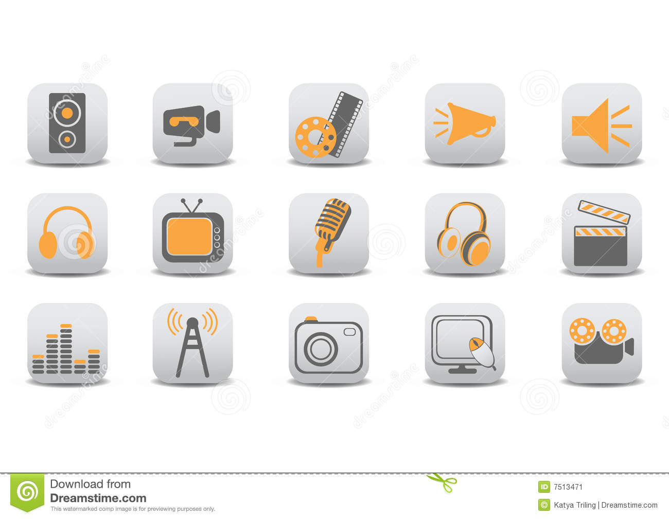 Download Video and audio icons stock vector. Illustration of gray - 7513471
