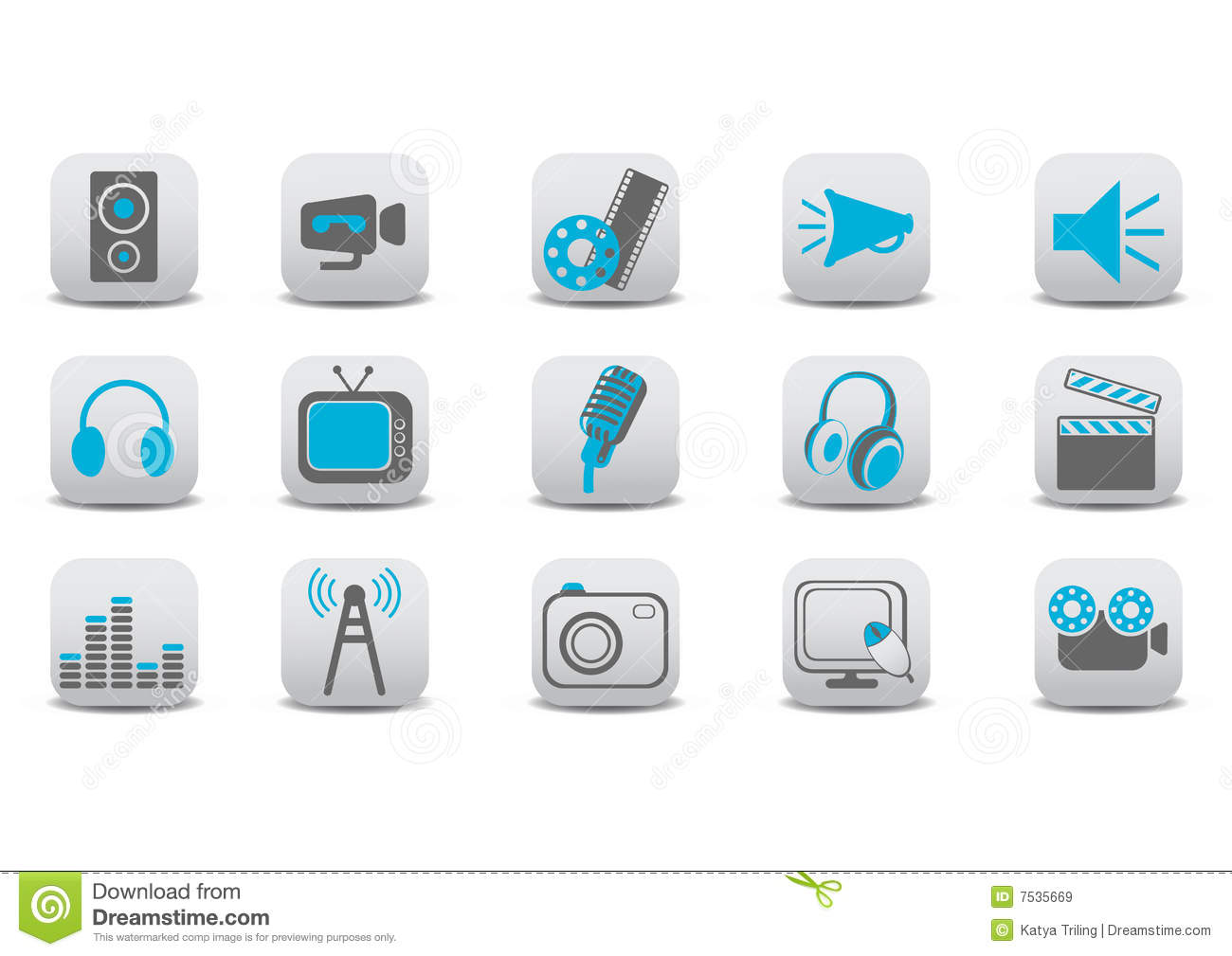 Video and audio icons