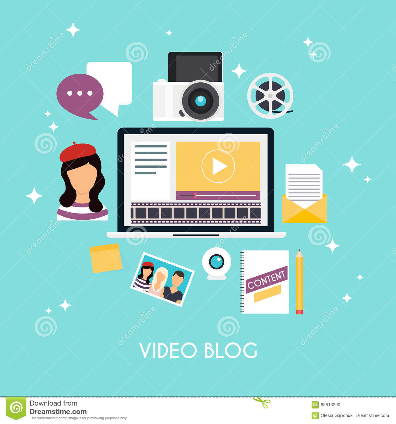 Video Blogging Concept. Cartoon Vector | CartoonDealer.com ...