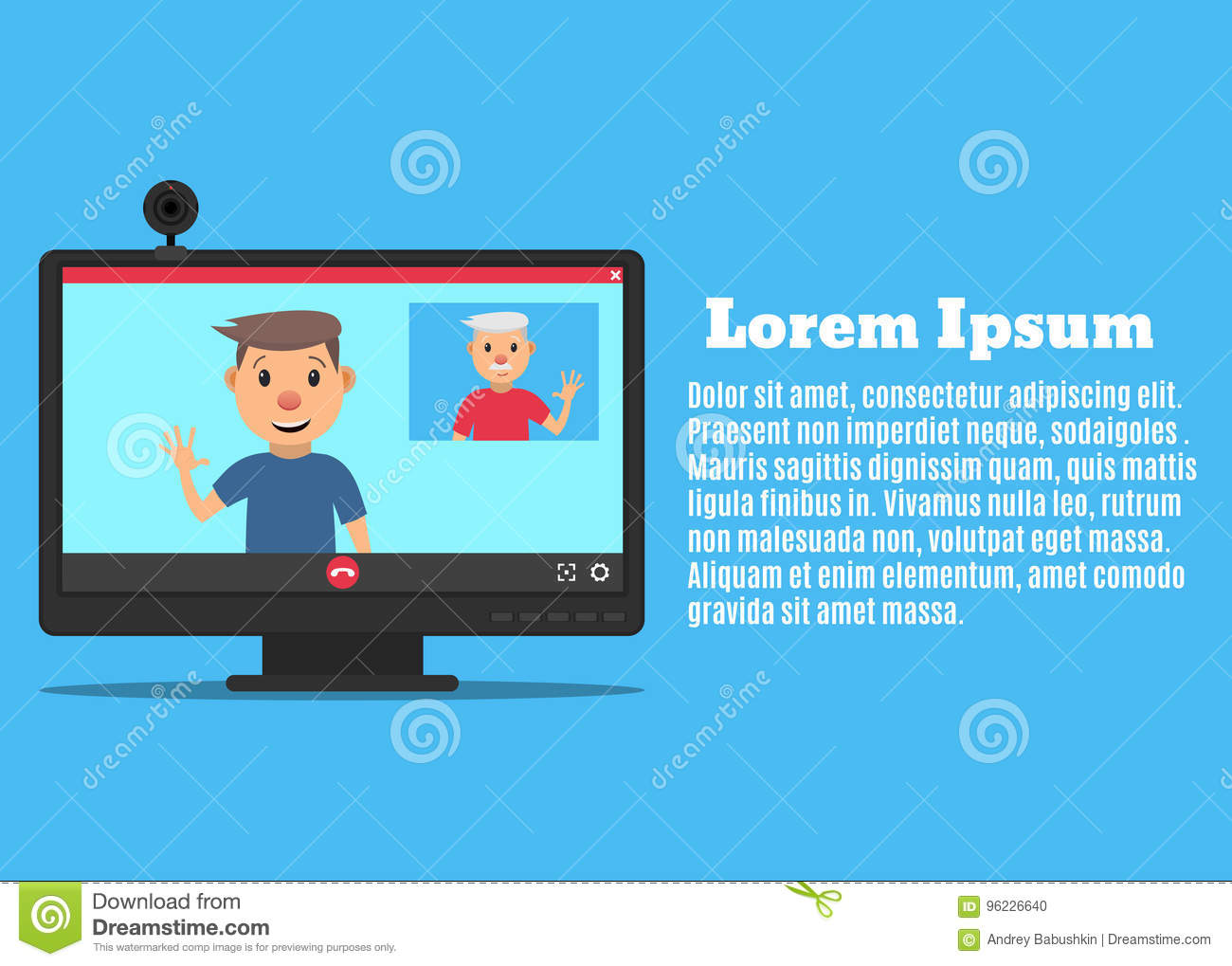 Video call-02 stock vector  Illustration of father, meeting