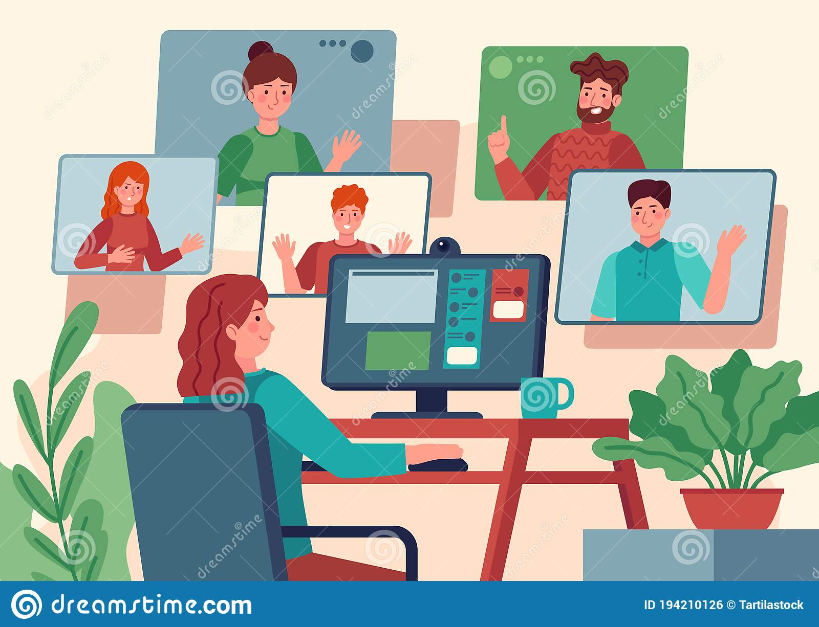 Video Conference. Woman At Home Chatting With Friends On Computer Screen,  Online Communication With Coworkers, Video Stock Vector - Illustration of  cyberspace, conversation: 194210126