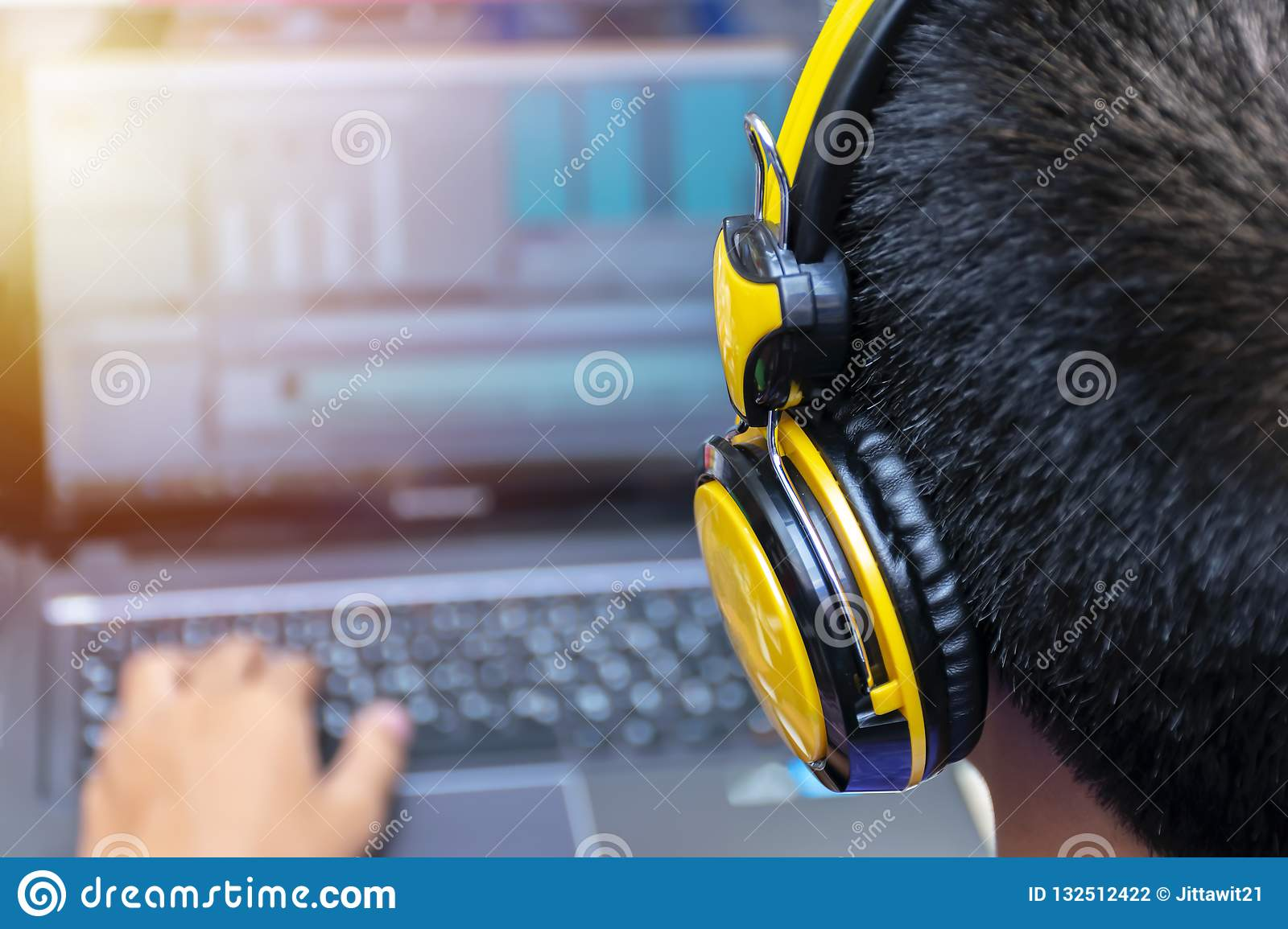 Video Editing Computer Laptops And Headphones With Laptop Stock Photo Image Of Audio Computer 132512422