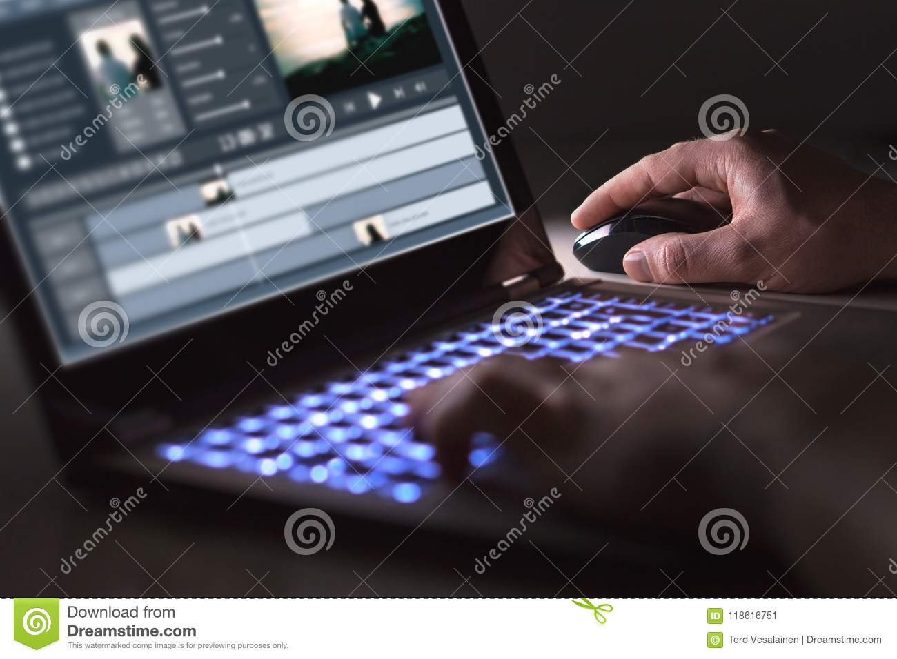 Video Editing With Laptop  Professional Editor  Stock Image
