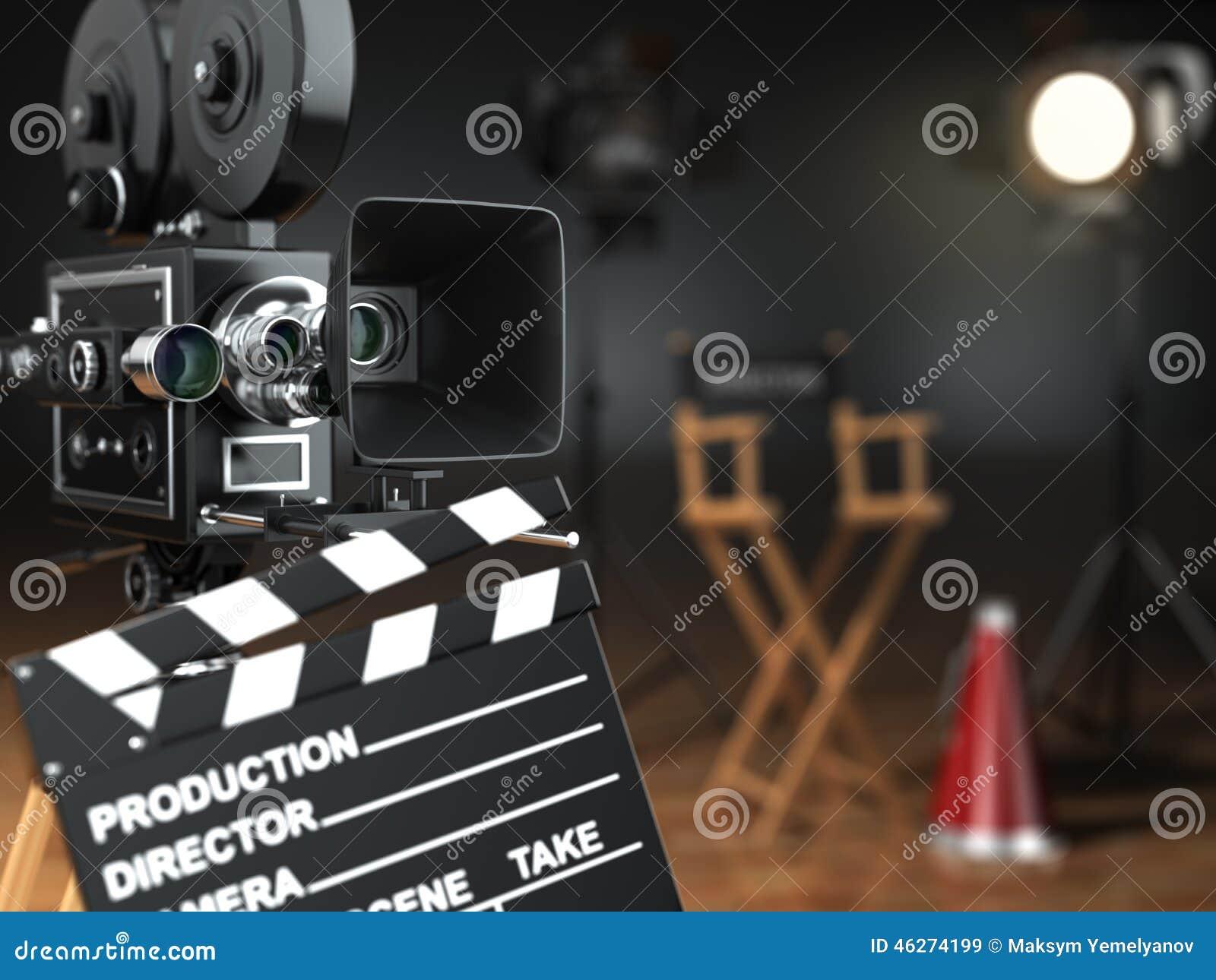 Video film, biobegrepp Retro kamera, exponering, clapperboard