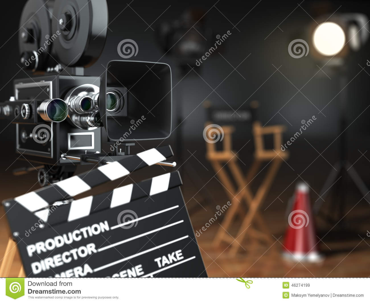 Video, film, bioskoopconcept Retro camera, flits, clapperboard