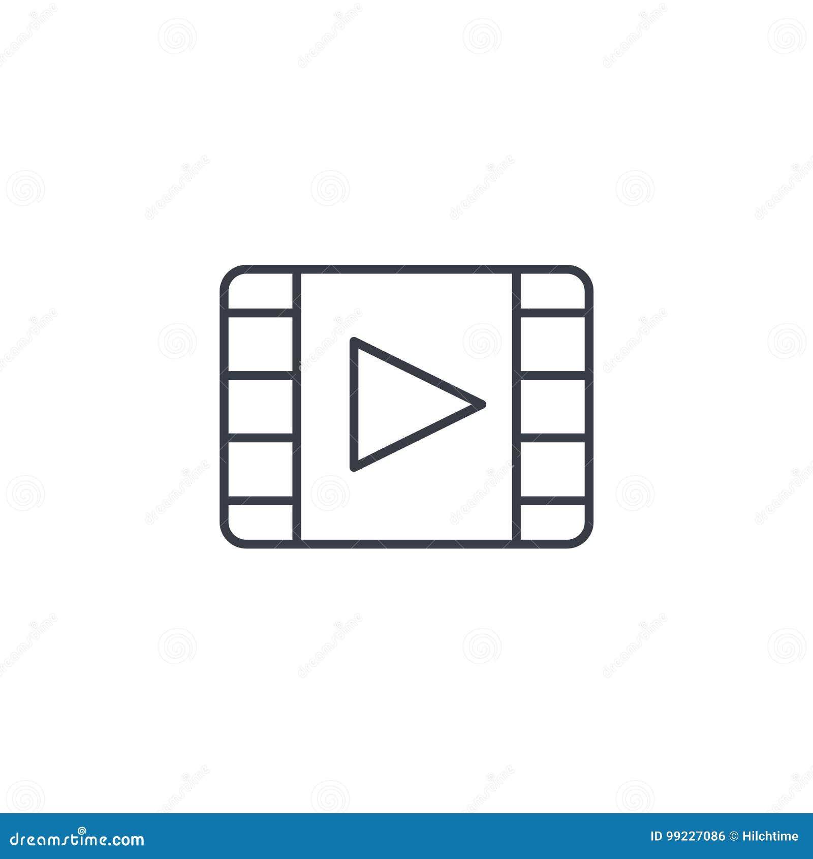 Video Frame, Movie, Film, Cinema, Media, Player Thin Line Icon ...