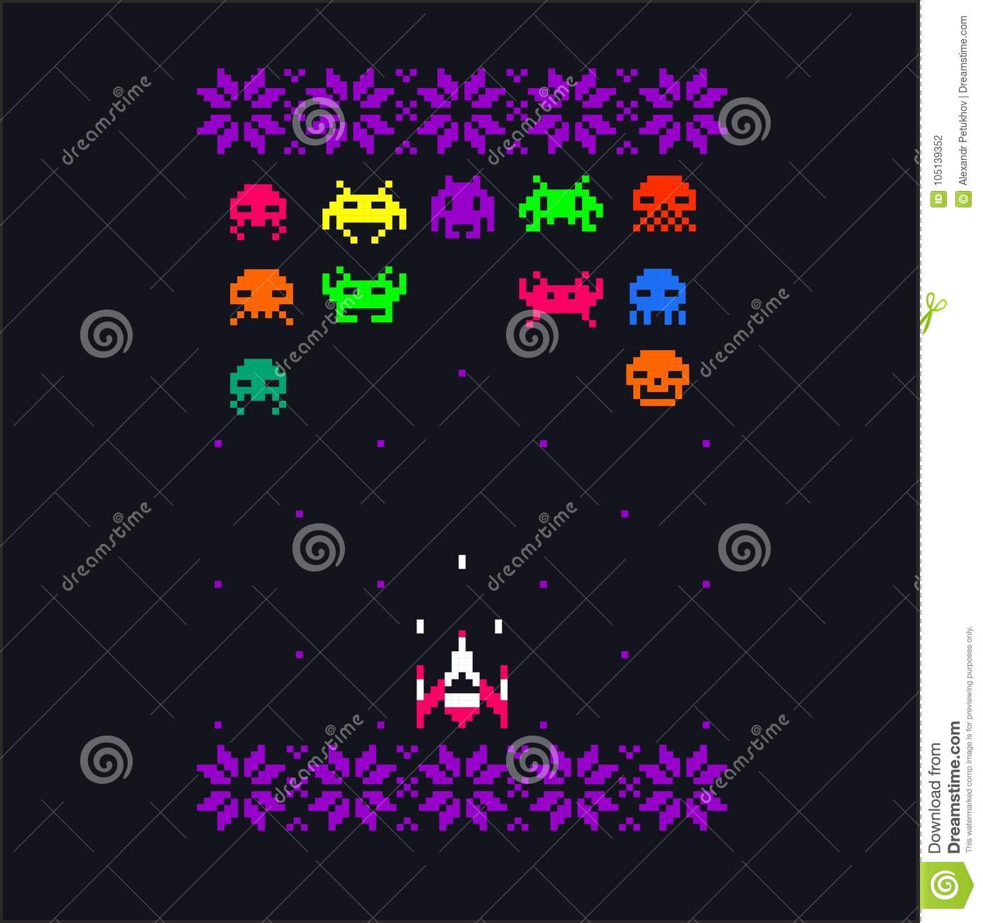 Video Game Bit Space Aliens Spaceship Pixel Art With Embroidery - Spaceship design game