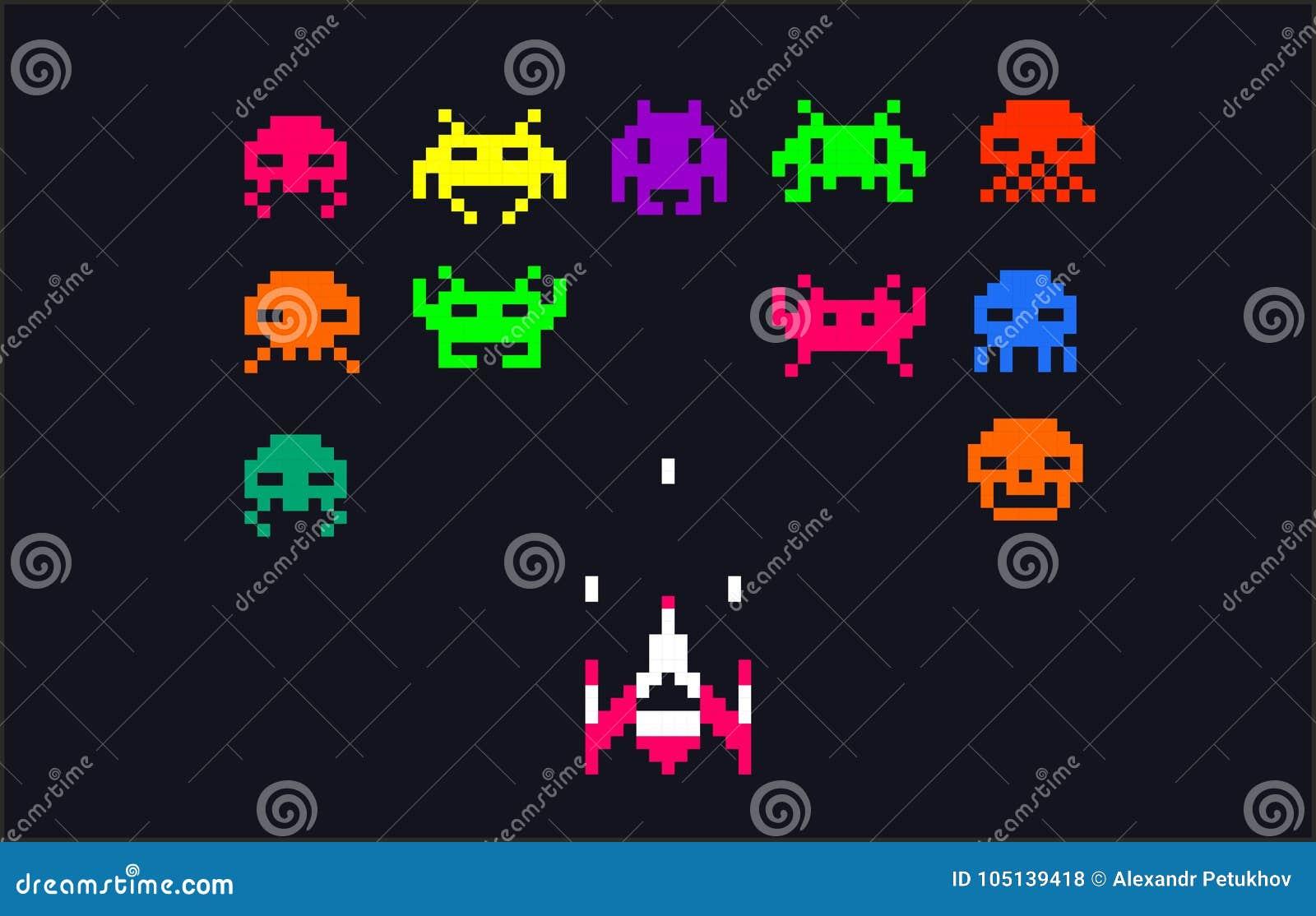8 Art Elements : Video game bit space aliens spaceship pixel art with